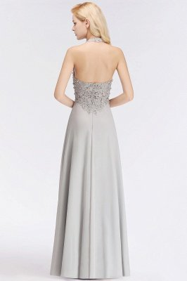 Elegant Halter A-line Appliques Chiffon Long Bridesmaid Dresses | Simple Wedding Guest Dresses_7