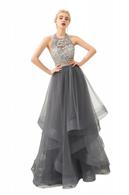 Stylish Floor Length Halter Beaded Tiered Blackless Tulle Prom Dresses_8