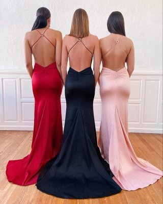 Silky Spaghetti Straps  Criss-Cross Long Prom Dresses   Flowing Evening Dresses_2