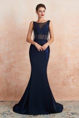 Bateau Backless Beaded Sexy Long Mermaid Prom Dresses | Glamorous Floor Length Evening Dresses_6