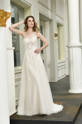 One Shoulder Tulle Sexy A-Line Lace Wedding Dress_4
