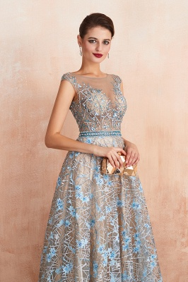 Bateau Cap Sleeves Belted Sexy Long Lace Prom Dresses | Gorgeous Lace Evening Dresses_7