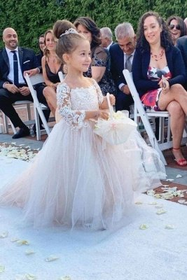 Princess Jewel Long Sleeves Sweep Train Lace Tulle Flower Girl Dresses with Bowknot