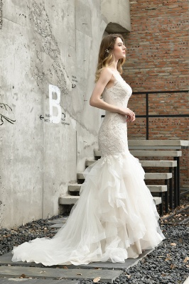 Gorgeous Floor Length Tulle Appliques Mermaid Wedding Dress_11