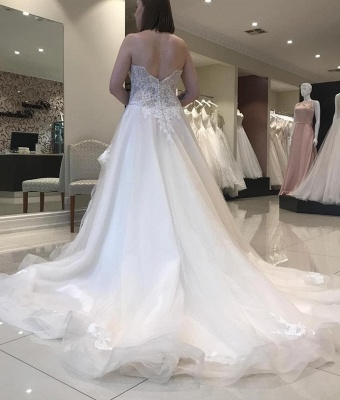 Strapless Sweetheart A-line Lace Tulle Wedding Dresses | Gorgeous Bridal Gown_2