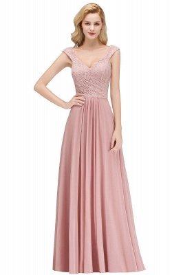 Elegant A-Line Chiffon Bridesmaid Dresses | V-Neck Cap Sleeves Lace Wedding Party Dresses_1