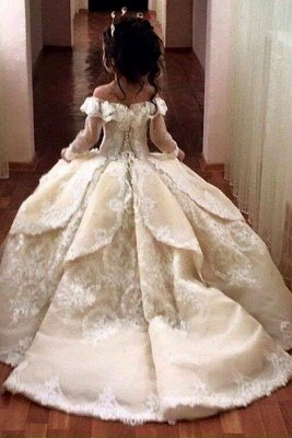 Luxury Ball Gown Flower Girl Dresses | Long Sleeves Girl Party Dresses_2