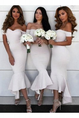 Tea Length Off the Shoulder Mermaid Bridesmaid Dresses   Affordable Maid of Honor Dresses_3