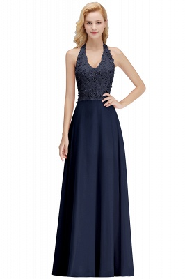 Elegant Halter A-line Appliques Chiffon Long Bridesmaid Dresses | Simple Wedding Guest Dresses_4