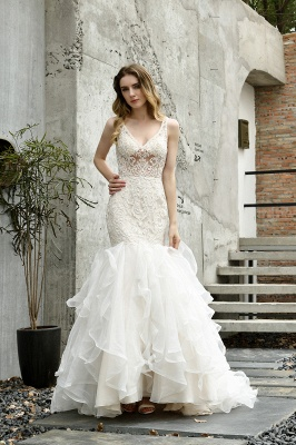 Tulle Lace Sleeveless Sexy Mermaid Wedding Dress