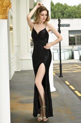 Black Spaghetti Strap V Neck Sequined Front Slit Floor Length Sheath Prom Dresses | Backless Evening Gown_6