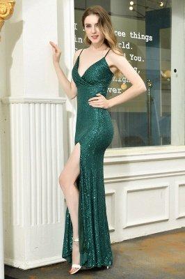 Black Spaghetti Strap V Neck Sequined Front Slit Floor Length Sheath Prom Dresses | Backless Evening Gown_16