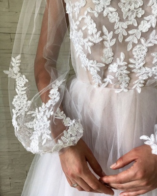 Jewel See Through Tulle Appliques Lace Prom Dresses | Long Evening Dresses with Sleeves_4