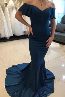Sweep Train Off The Shoulder Sexy Mermaid Navy Blue Prom Dresses