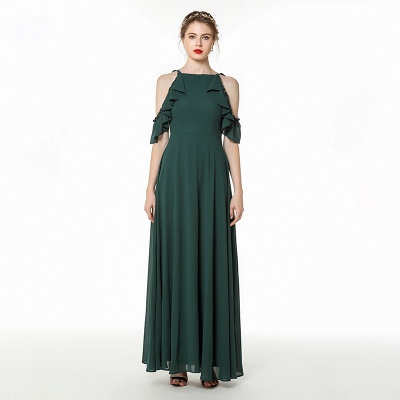 Cold-Shoulder Chiffon Floor Length Jewel Prom Dresses Simple Bridesmaid Dresses