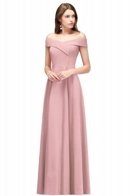 A-line Off-the-Shoulder Long Burgundy Evening Gowns_1