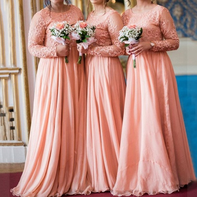 Jewel Long Sleeves Floor Length Sexy Lace Chiffon Bridesmaid Dresses_1