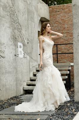 Gorgeous Floor Length Tulle Appliques Mermaid Wedding Dress_9