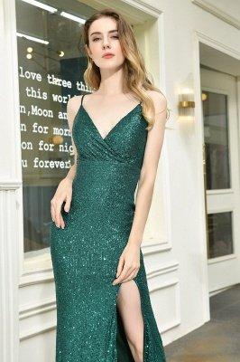 Black Spaghetti Strap V Neck Sequined Front Slit Floor Length Sheath Prom Dresses | Backless Evening Gown_17