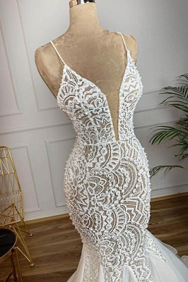 Spaghetti Straps  V-neck Mermaid Lace Sexy Wedding Dresses | Fit and Flare Bridal Gowns_3