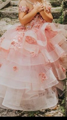 Jewel Short Sleeves Tiered Tulle Flower Girl Dresses with Handmade Flowers_3