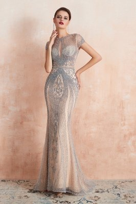 Cap Sleeves Keyhole Jewel Gorgeous Beaded Long Prom Dresses | Elegant Long Evening Dresses_6