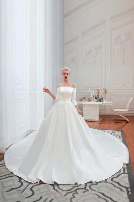 Gorgeous Off the Shoulder Half Sleeves Floor Length A-line Satin Wedding Dresses_8