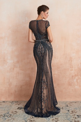 Cap Sleeves Keyhole Jewel Gorgeous Beaded Long Prom Dresses | Elegant Long Evening Dresses_18