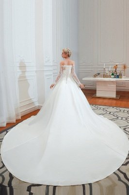 Off the Shoulder Long Sleeves Lace Up Floor Length A-line Lace Wedding Dresses_11