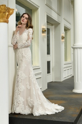 Gorgeous V-Neck Long Sleeves Form-Fitting Wedding Dress With Slit_9