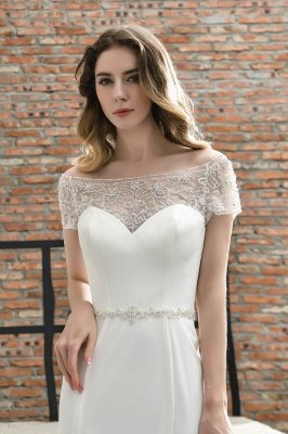 Gorgeous Off the Shoulder Affordable Ivory Mermaid Lace Wedding Dresses_10