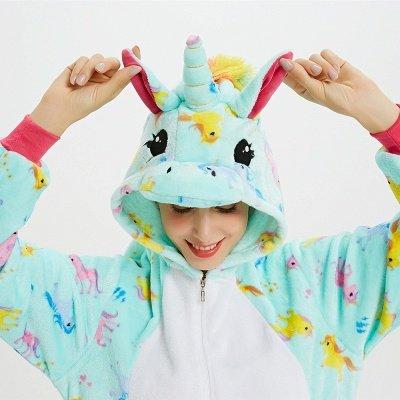 Cute Animal Pyjamas for Women Triceratops Onesie, Green_19