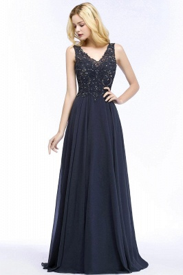 Straps V Neck  Applique Crystal Sequin Floor Length A Line Prom Dresses_51