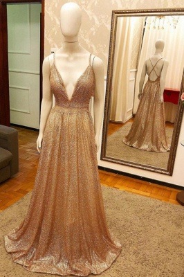 Alluring V-neck Criss-Cross Straps A-line Long Sequined Prom Dresses