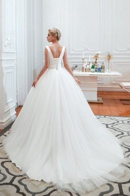 Elegant Floor Length V-neck Straps Belted A-line Tulle Wedding Dresses_11