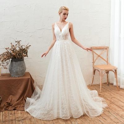 Gorgeous Spaghetti Straps Sweep Train V-neck Lace-Up Lace Wedding Dresses_8