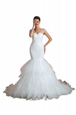 Floor Length V-neck Cap Sleeves Sexy Mermaid Wedding Dresses | Affordable Bridal Gown_1