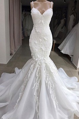 Spaghetti Straps Sweetheart Lace Mermaid Wedding Dresses | Fit and Flare Bridal Gowns