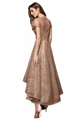 Champagne High Neck Short Sleeve Sequined A Line Prom Dress | Tea Length Ruffles Evening Gown_12