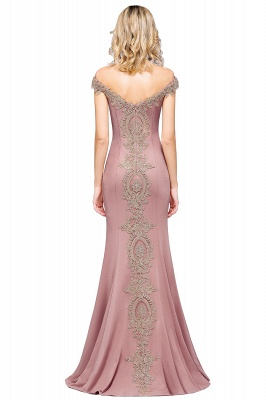 Simple Off the Shoulder Appliques Fitted Floor Length Evening Gown_28