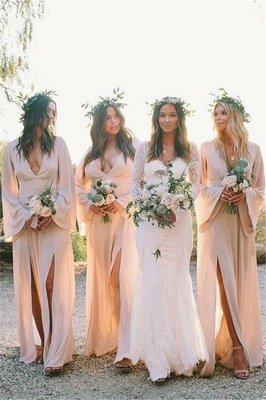 Boho Style V-neck Long Sleeves Front Slit Floor Length Sexy Bridesmaid Dresses