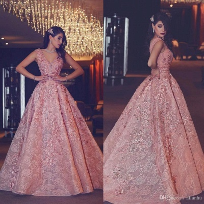 V-Neck Beading Puffy Lace Luxury Pink Flowers Evening Gowns_4