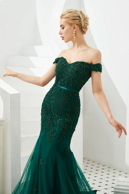 Gorgeous Off the Shoulder Jade Long Mermaid Prom Dresses | Floor Length Evening Dresses_8