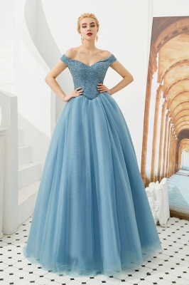 Off the Shoulder Sweetheart Jade A-line Long Prom Dresses | Elegant Evening Dresses Cheap_13