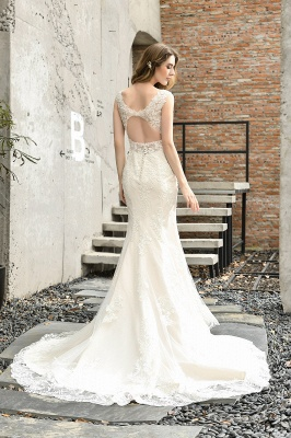 Glamorous Floor Length Open Back Mermaid Lace Wedding Dresses_3
