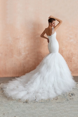 Floor Length V-neck Cap Sleeves Sexy Mermaid Wedding Dresses | Affordable Bridal Gown