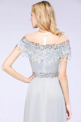 A-line Jewel Short Sleeves Sequins Evening Dress with Tassels On Sale_7