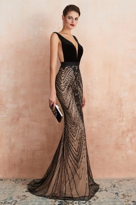 Straps Sweetheart Gorgeous Lace Sexy Black Long Prom Dresses | Elegant Black Evening Dresses_9