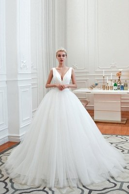 Elegant Floor Length V-neck Straps Belted A-line Tulle Wedding Dresses_13