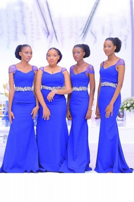 Beaded Cap Sleeves Belted Floor Length Bridesmaid Dresses | Fitted Wedding Guest Dresses_1